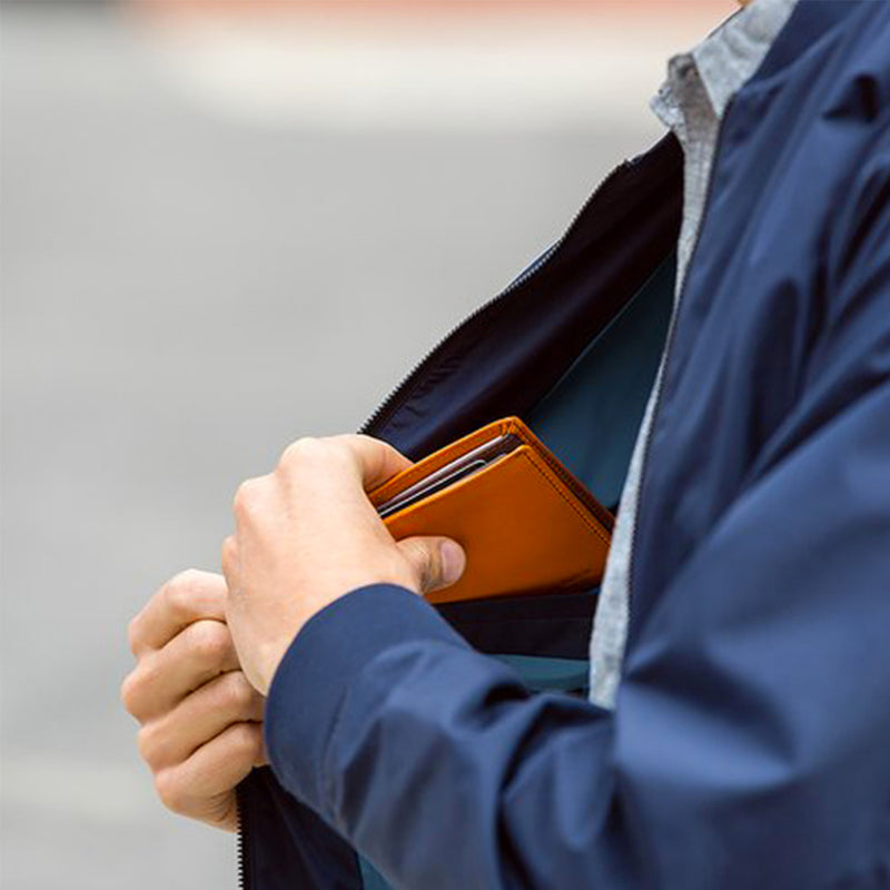 Bellroy Note Sleeve Charcoal Artic Blue jacket pocket