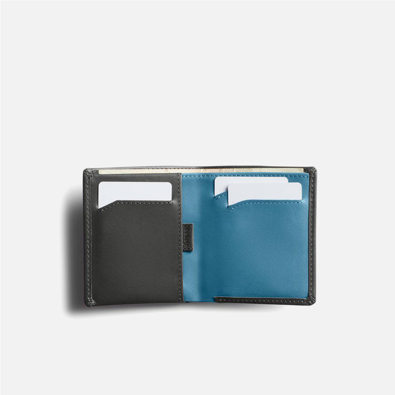 Bellroy Note Sleeve Charcoal Artic Blue open