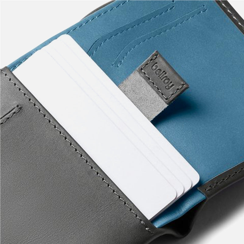 Bellroy Note Sleeve Charcoal Artic Blue pull cards