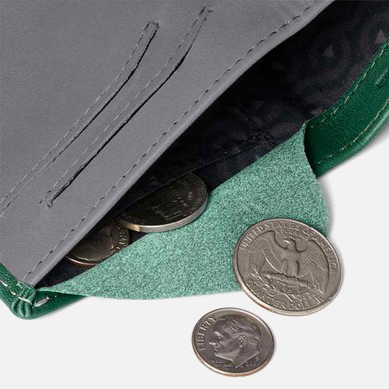 Bellroy Note Sleeve Racing Green coins