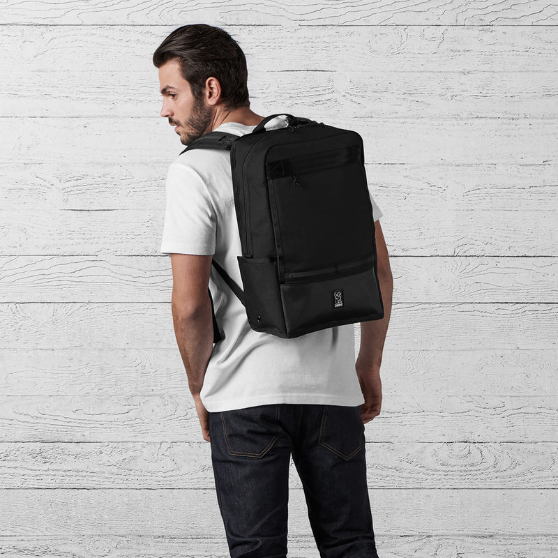 Chrome Industries Hondo Backpack All Black on man