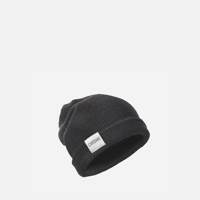 Chrome Industries Wool Cuff Beanie Black front view