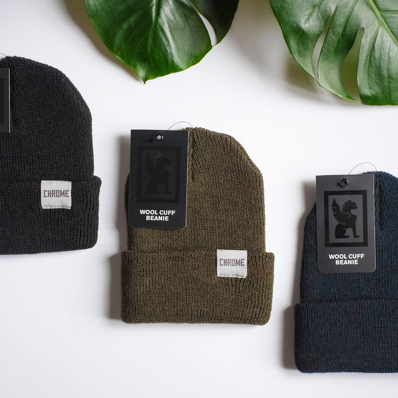 Chrome Industries Wool Cuff Beanie collection on table