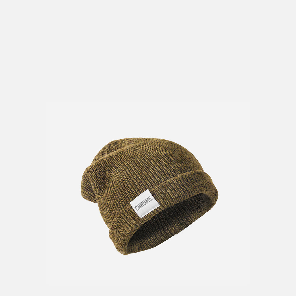 Chrome Industries Wool Cuff Beanie Olive front view