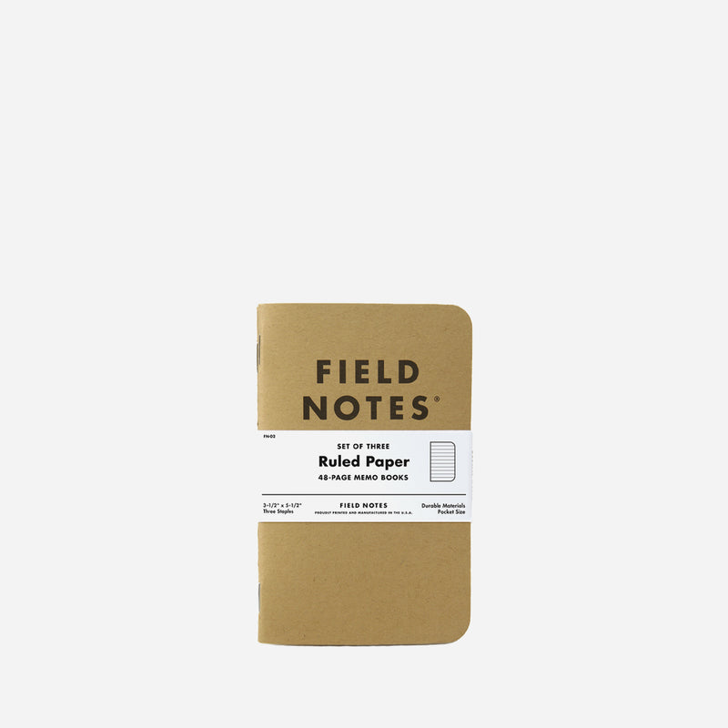 Field Notes Original Kraft Ruled 3 pack front view