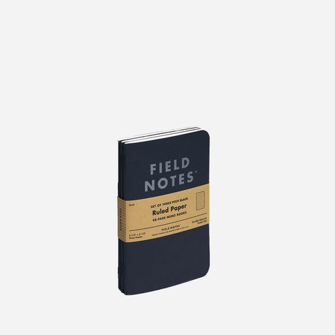 Field Notes Pitch Black Memo Books Ruled front view
