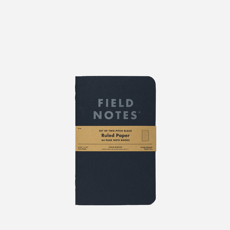 Field Notes Note Book Pitch Black Ruled front view