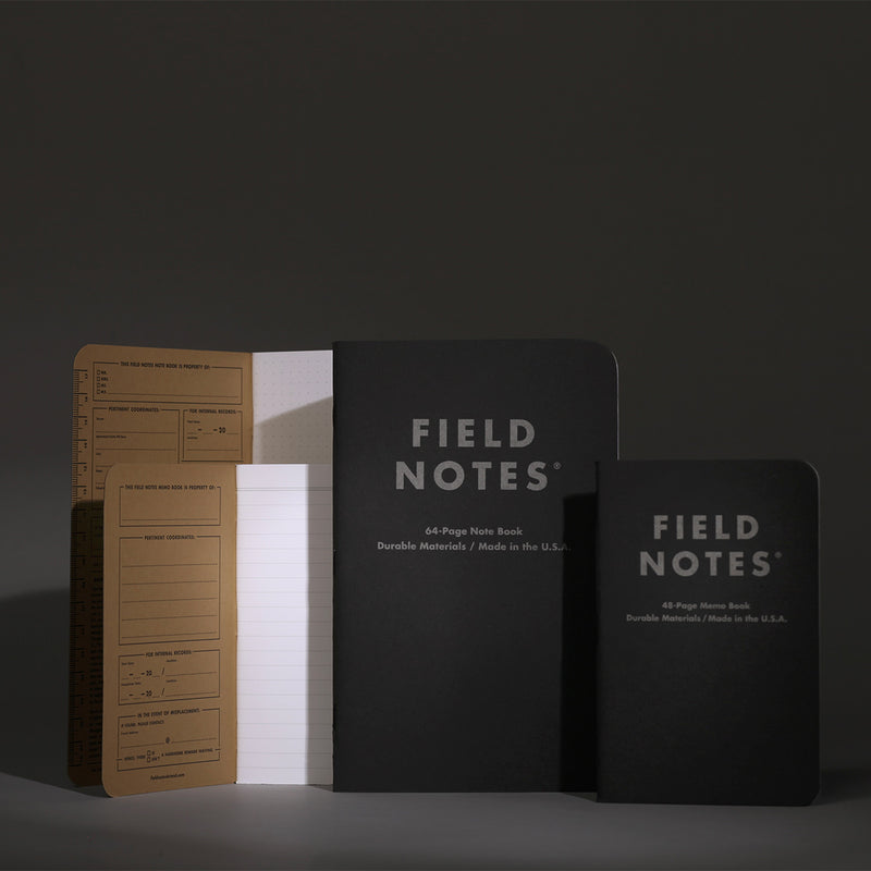 Field Notes Note Book Pitch Black Ruled size comparison