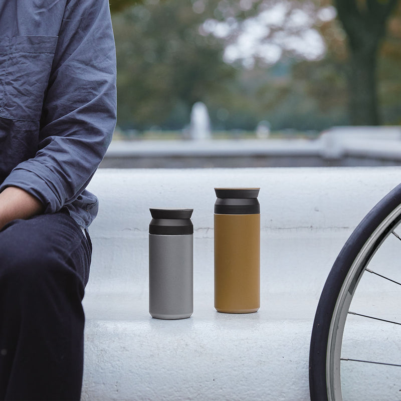 Kinto Travel Tumbler 500ml Coyote Sitting Man Bycicle