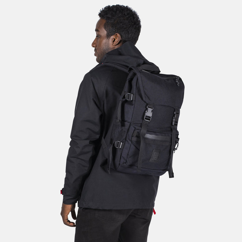 Topo Designs Rover Pack Tech Black on man front view