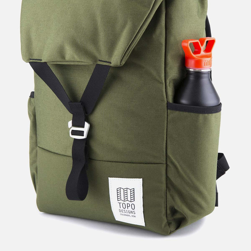 Topo Designs Y Pack Olive with a bottle in the pocket