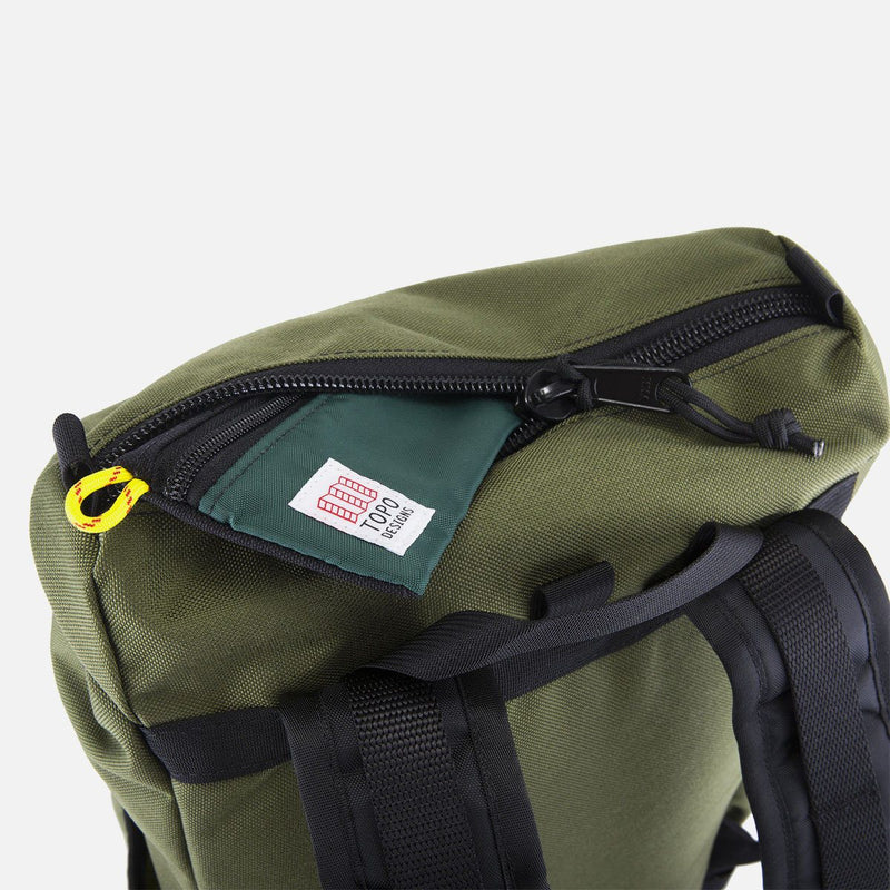 Topo Designs Y Pack Olive top pocket opened