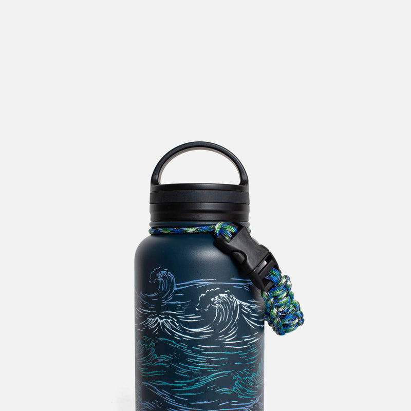 United By Blue Insulated Steel Bottle Waves handle view