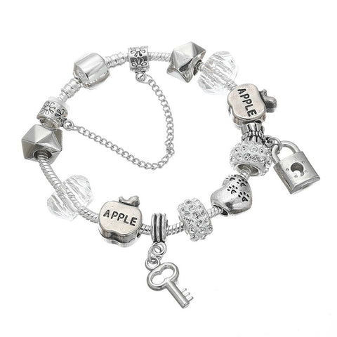 Image of SPINNER Romantic Love DIY Charm Bracelet Love Heart Key and Lock Pandora Bracelet for Women Jewelry Christmas New Year's Gift