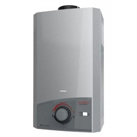 OLYMPIC ELECTRIC 10 L. FLUE TYPE SILVER GAS WATER HEATER