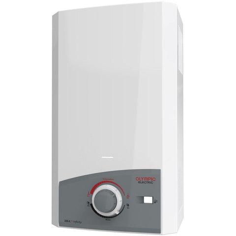 OLYMPIC ELECTRIC 10 L. FLUE TYPE WHITE GAS WATER HEATER