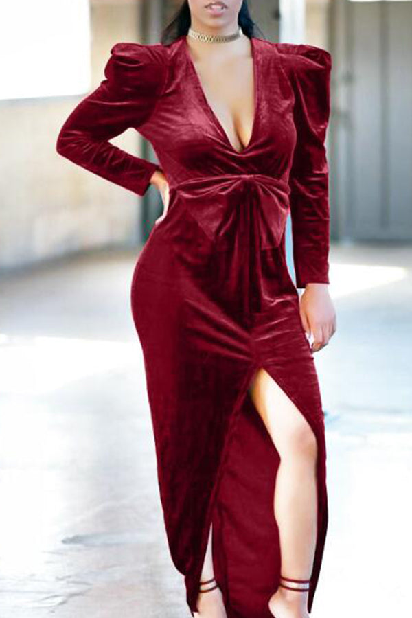 c836ead26120 Amaldress Party Style Kick Pleat Wine Red Ankle Length Dress