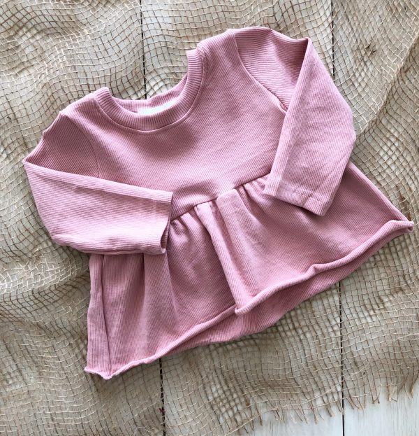 Dusty Pink // Ribbed Peplum Top