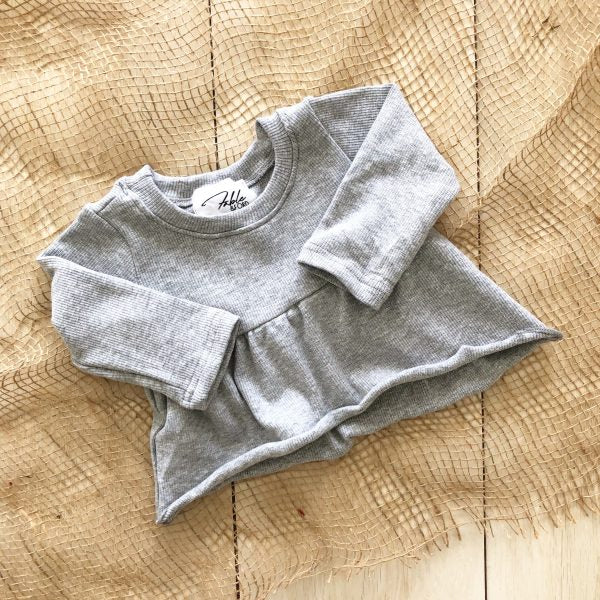 Grey Marle // Ribbed Peplum Top