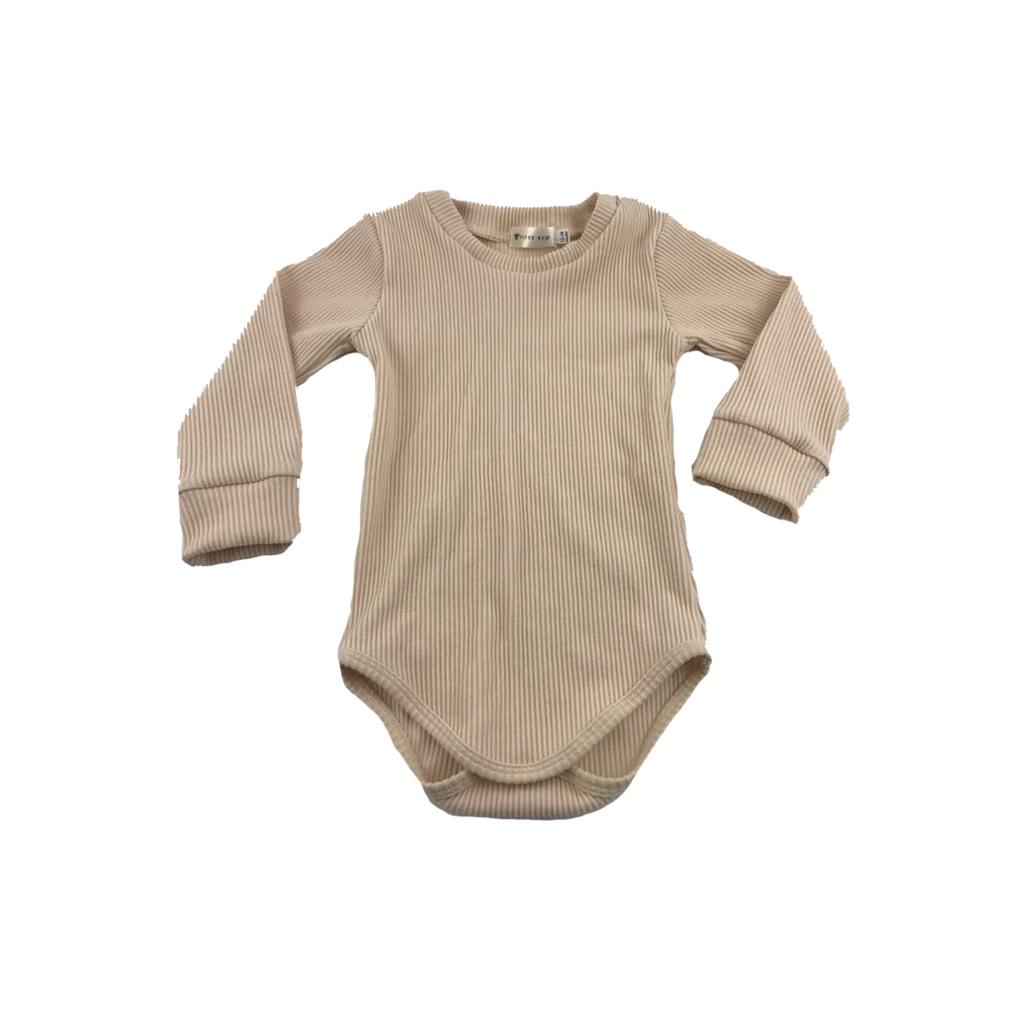 Wheat // Long Sleeved Ribbed Romper