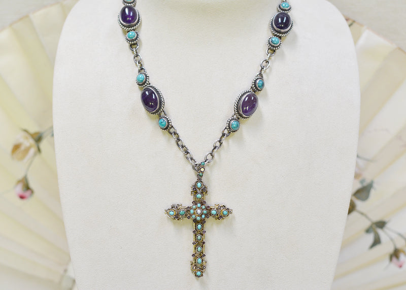 Early 19 th. C. Amethyst and Turquoise Austro Hungarian Bishops Cross Necklace