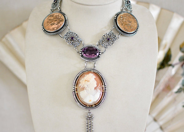 French Medals Amethyst Drop Necklace