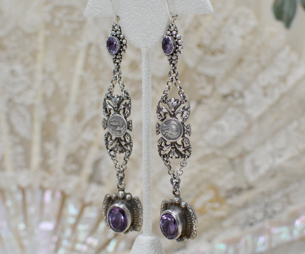 Amethyst Drop Earrings with Antique French Sacred Heart Medals