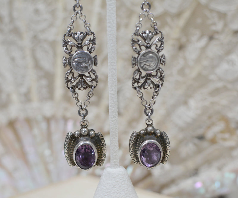 Amethyst Drop Earrings with Antique French Sacred Hearts