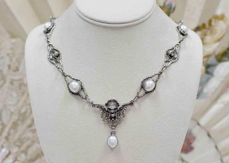 Figural Angels Drop Necklace with Freshwater Pearls