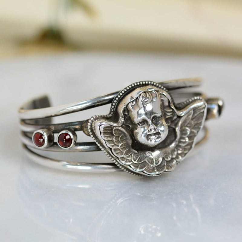 Baroque Guardian Angel Cuff Bracelet with Natural Garnets