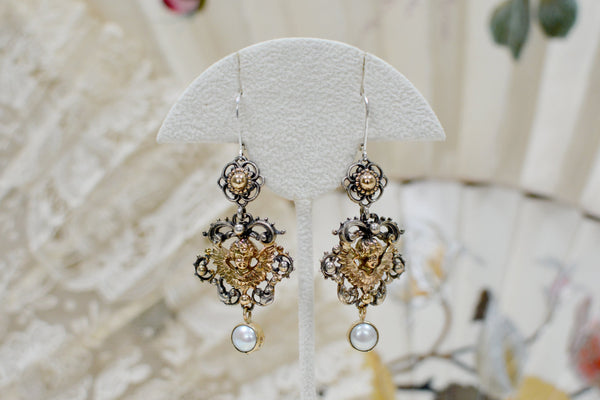 Gold Angel Drop Earrings with Freshwater Pearls
