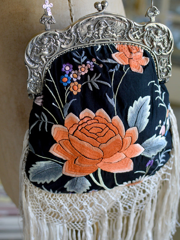 Black Floral Elizabeth Purse