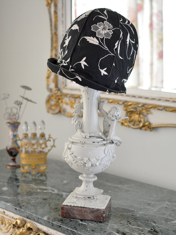 Black & Ivory Cloche Hat