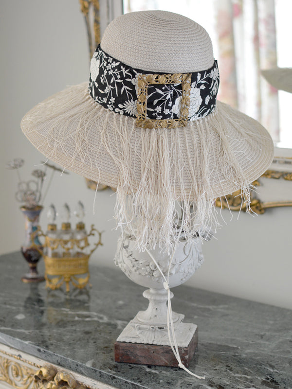 Black and Cream Straw Hat