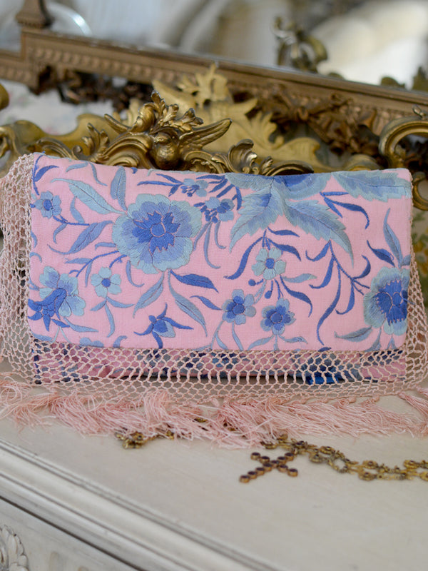 Pink & Blue Daisy Clutch
