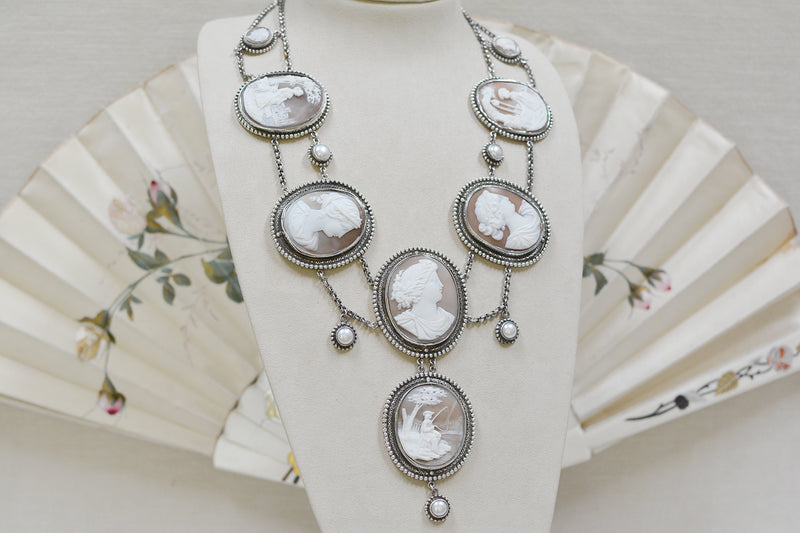 19 th. C. Venetian Cameo Necklace of the Gods with Freshwater Pearls
