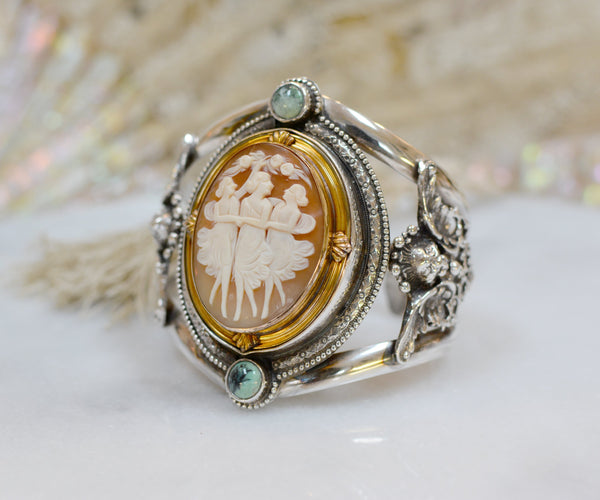 19 th. C. Venetian Three Graces Cameo Cuff with Figural Angels and Turquoise