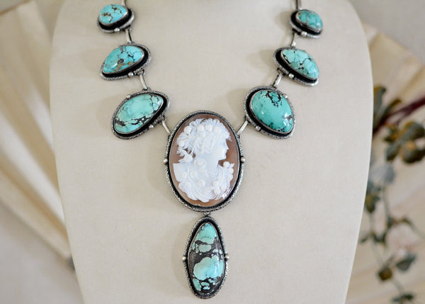 19 th. C. Venetian Goddess Cameo Lingerie Necklace with Hubai Turquoise