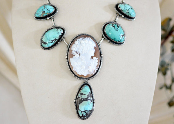 Turquoise Goddess Cameo Necklace