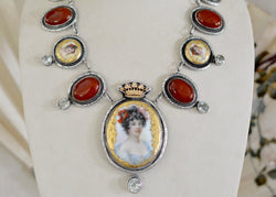 Carnelian & Green Amethyst Portrait Necklace