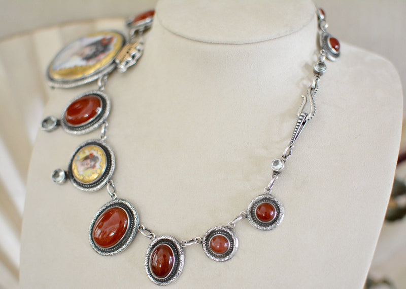 19 th. C. Gilded Goddess Portrait Festoon Necklace with Carnelian and Prasiolite