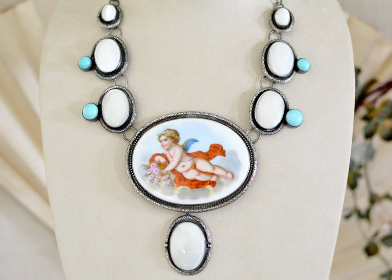 19 th. C. Venetian Cherub with Mother-of-Pearl and Turquoise Necklace
