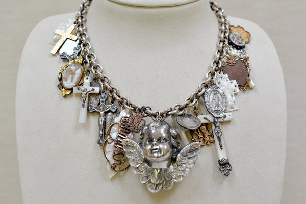 Guardian Angel Festoon Necklace with Talismans and Love Tokens