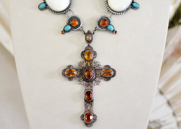 Citrine Cross Necklace