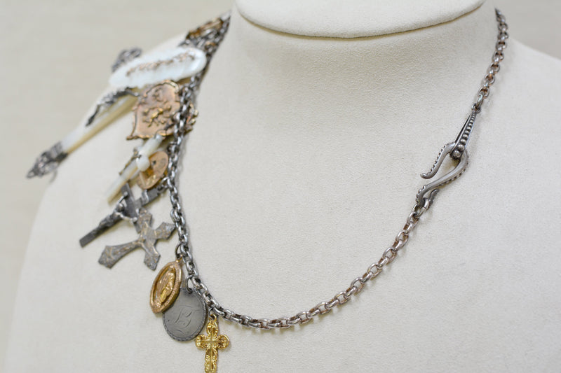 Collection of 19 th. C. French Mother-of-Pearl and Gilded Talismans Necklace