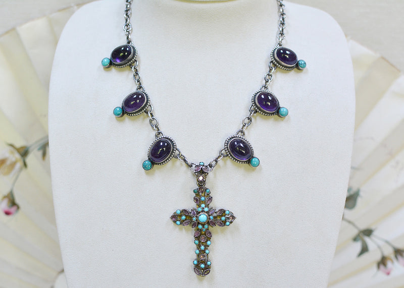 Austro Hungarian Cross Necklace with Drops