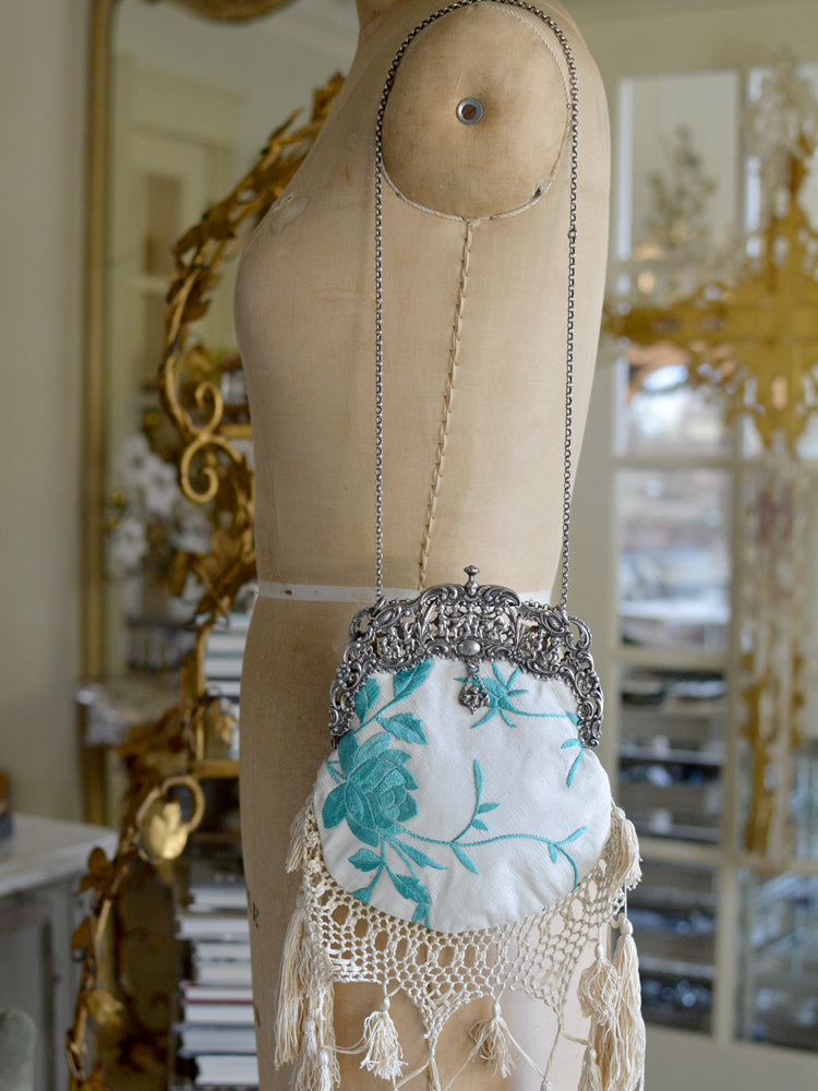 Turquoise & Cream Elizabeth Purse