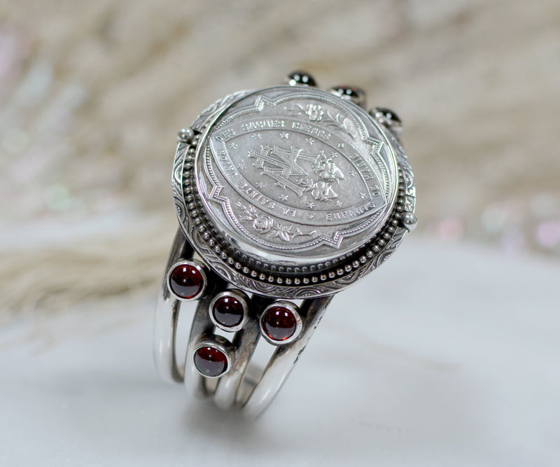 Antique French Sacred Heart Medallion Cuff with Bohemian Garnets