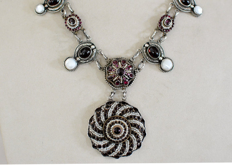 Austro Hungarian Seed Pearl Drop Necklace