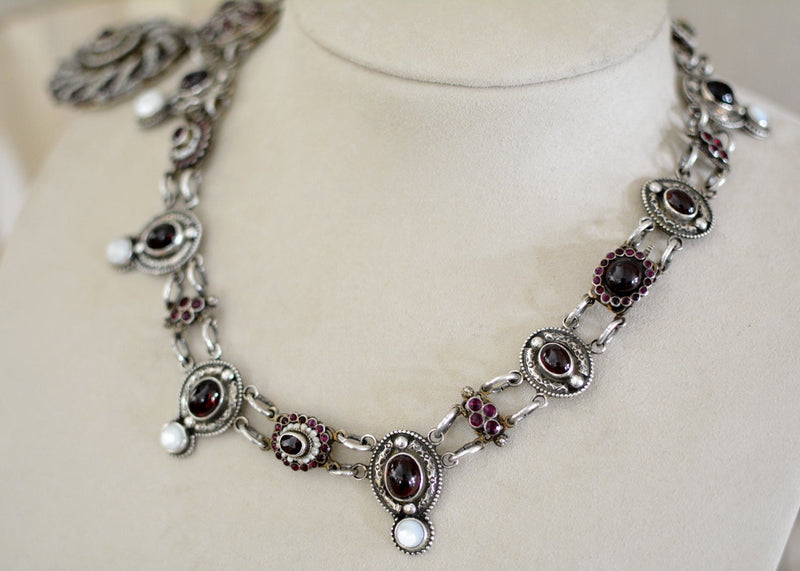 19 th. C. Rosecut Garnet, Ruby and Seed Pearl Austro Hungarian Lingerie Necklace